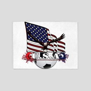 Patriotic Soccer 5'x7'Area Rug