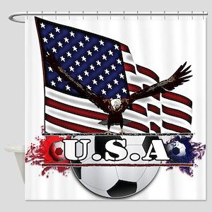 Patriotic Soccer Shower Curtain