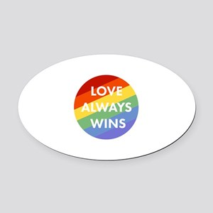 Love Wins Oval Car Magnet