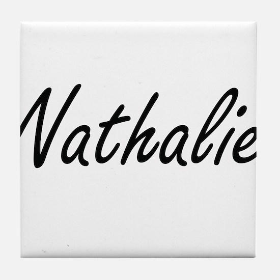 Nathalie artistic Name Design Tile Coaster
