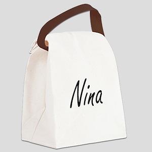 Nina artistic Name Design Canvas Lunch Bag