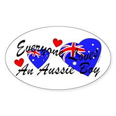 Loves an Aussie Boy Oval Decal