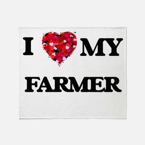 I Love MY Farmer Throw Blanket