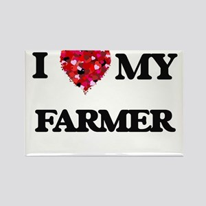 I Love MY Farmer Magnets