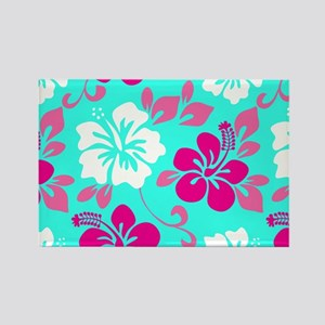 Cyan-magenta-white Hawaiian hibis Rectangle Magnet