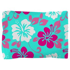 Cyan-magenta-white Hawaiian hibiscus Pillow Sham