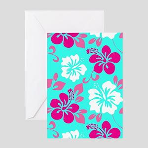 Cyan-magenta-white Hawaiian hibiscus Greeting Card
