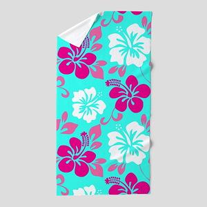 Cyan-magenta-white Hawaiian hibiscus Beach Towel