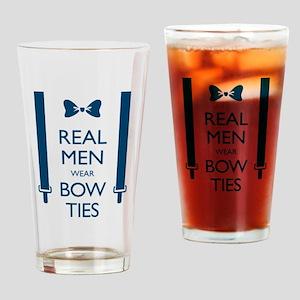 Real Men Wear Bow Ties Drinking Glass