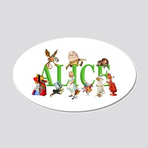Alice and Friends in Wonderl 20x12 Oval Wall Decal