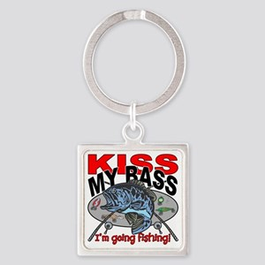 Kiss My Bass, I'm Going Fishing Square Keychain
