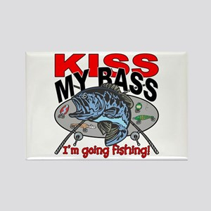 Kiss My Bass, I'm Going Fishing Rectangle Magnet