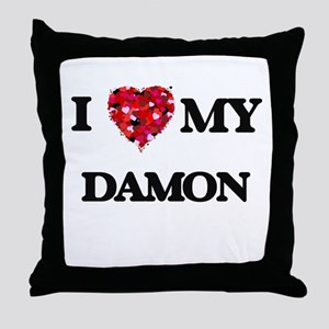 I Love MY Damon Throw Pillow