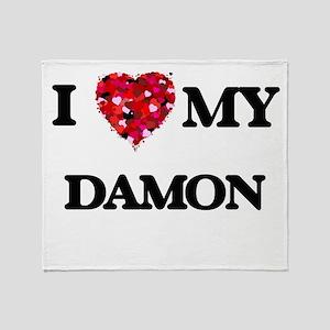 I Love MY Damon Throw Blanket