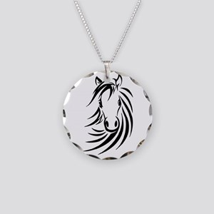 Black Horse Necklace Circle Charm
