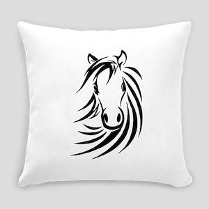 Black Horse Everyday Pillow