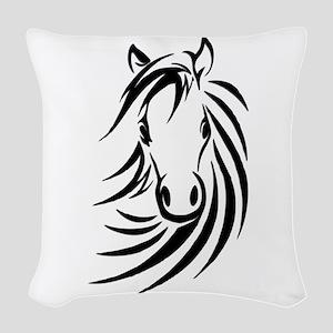 Black Horse Woven Throw Pillow