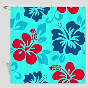 Cyan-red-navy Hawaiian hibiscus Shower Curtain