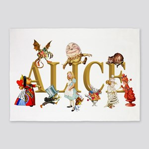 Alice and Friends in Wonderland, in 5'x7'Area Rug