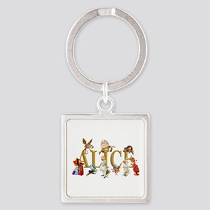Alice and Friends in Wonderland, i Square Keychain