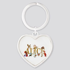 Alice and Friends in Wonderland, in Heart Keychain