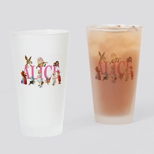 Alice and Friends in Wonderland, in Drinking Glass