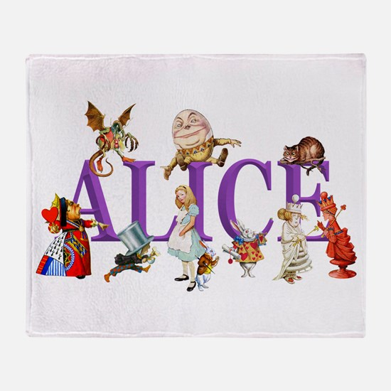Alice and Friends in Wonderland, inc Throw Blanket