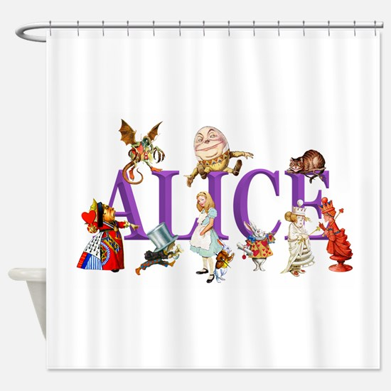 Alice and Friends in Wonderland, in Shower Curtain