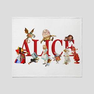 Alice and Friends in Wonderland, inc Throw Blanket