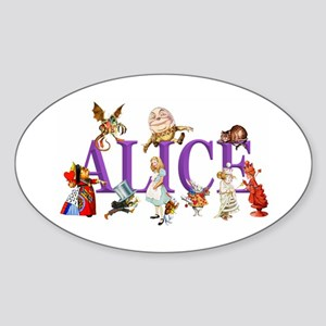 Alice and Friends in Wonderland, in Sticker (Oval)