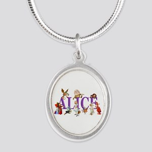 Alice and Friends in Wonderla Silver Oval Necklace
