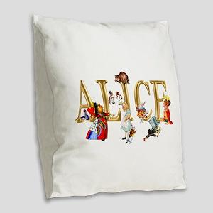 Alice and Friends in Wonderlan Burlap Throw Pillow