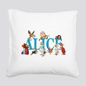 Alice and Friends in Wonderla Square Canvas Pillow