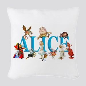 Alice and Friends in Wonderlan Woven Throw Pillow