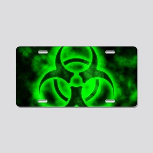 Green Biohazard Symbol Aluminum License Plate