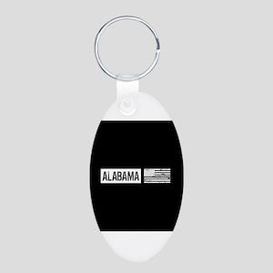 U.S. Flag: Alabama Aluminum Oval Keychain