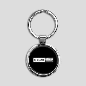 U.S. Flag: Alabama Round Keychain