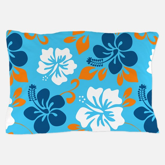 Light blue-navy-orange-white Hawaiian Pillow Case