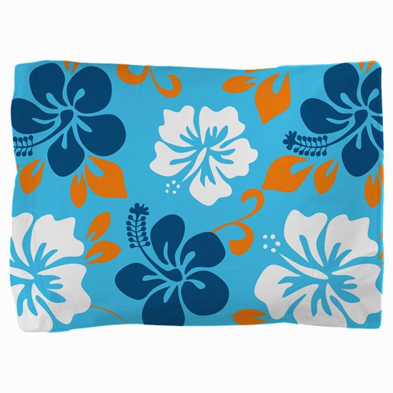 Light blue-navy-orange-white Hawaiian Pillow Sham