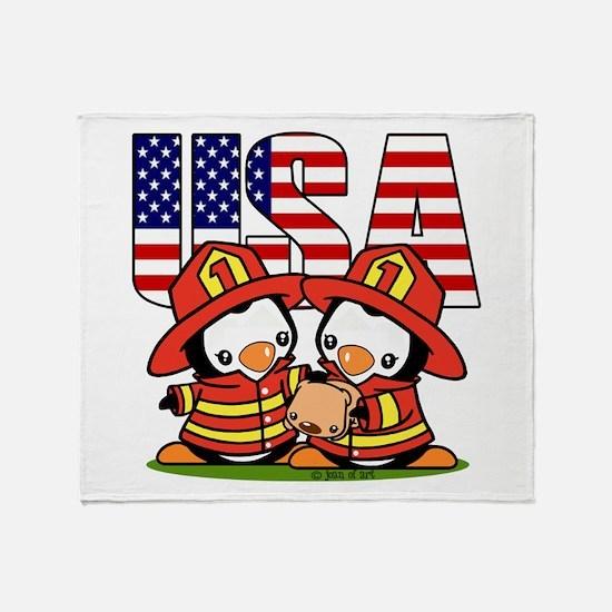 USA Firefighter Penguins Throw Blanket