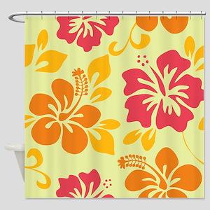 Light teal-orange-pink-yellow Hawaiian Hibiscus Sh