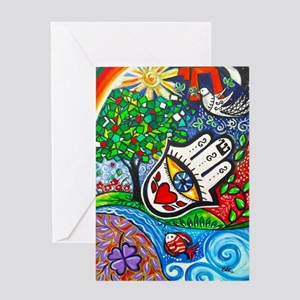 Hamsa del Amor Greeting Cards
