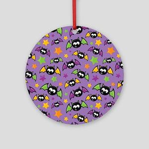 Purple Bat Pattern Ornament (Round)