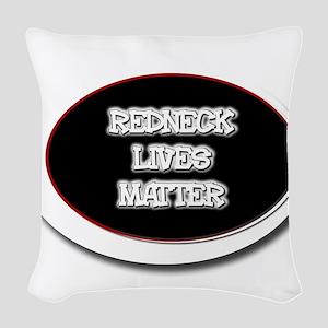 Black and White Rednecks Lives Woven Throw Pillow