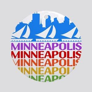 Minneapolis Skyline Rainbow Colors Ornament (Round