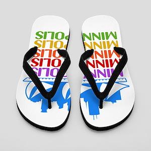 Minneapolis Skyline Rainbow Colors Flip Flops