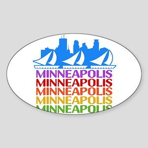 Minneapolis Skyline Rainbow Colors Sticker