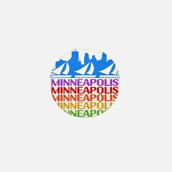 Minneapolis Skyline Rainbow Colors Mini Button