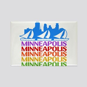 Minneapolis Skyline Rainbow Colors Magnets