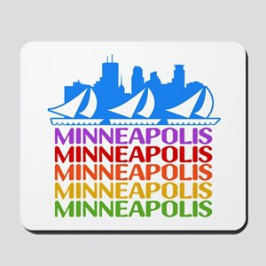 Minneapolis Skyline Rainbow Colors Mousepad